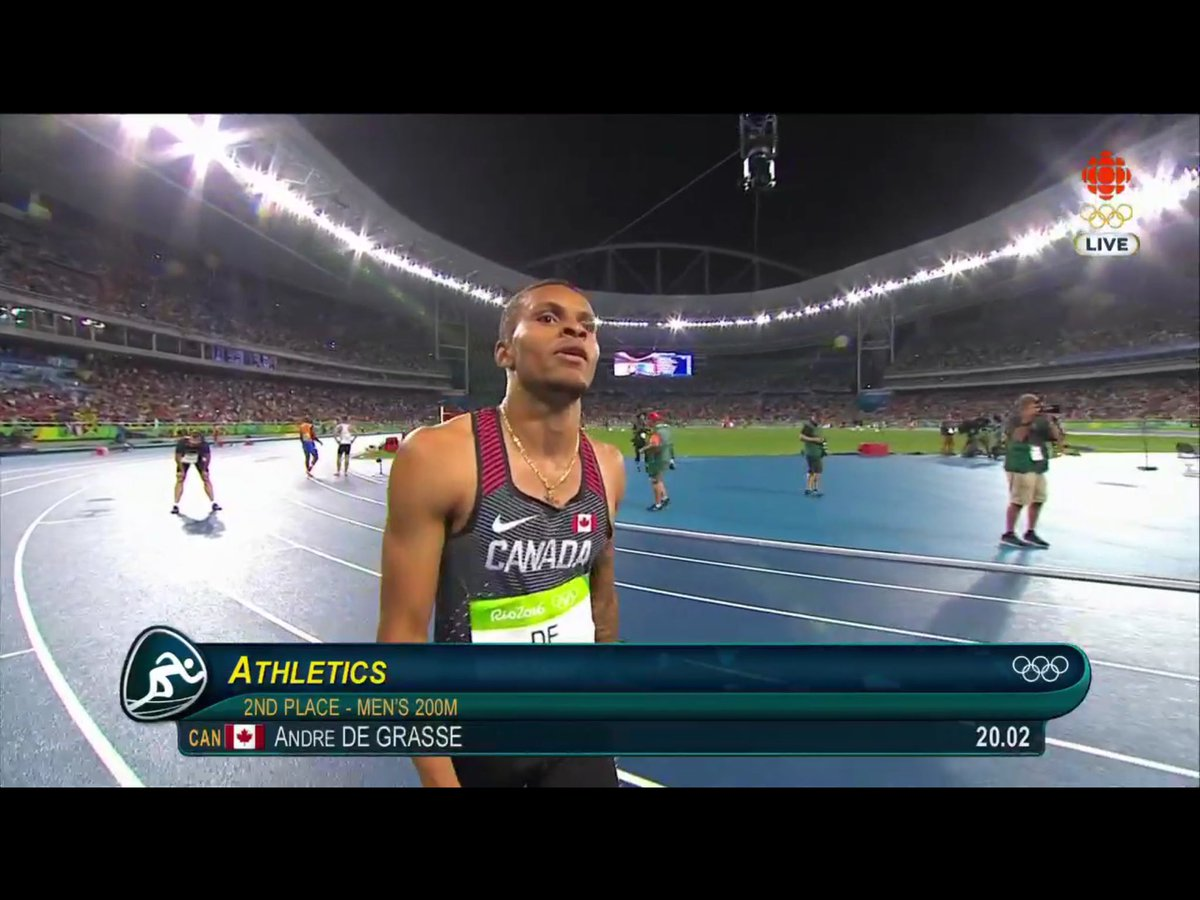 Huge congratulations to Canada's Andre deGrasse @De6rasse Silver medal in the 200 Metres #GoCANADAGo https://t.co/rOs7trSbqg