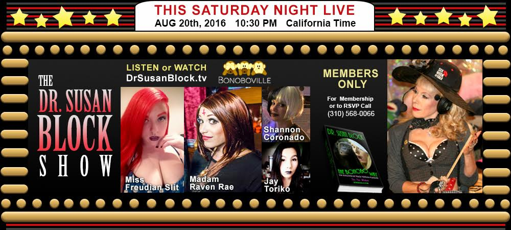 #GoBonobos 4 #Fet Play on #DrSusanBlock.Tv: p2gyVgmj3l w/ &more! RSVP: Call
