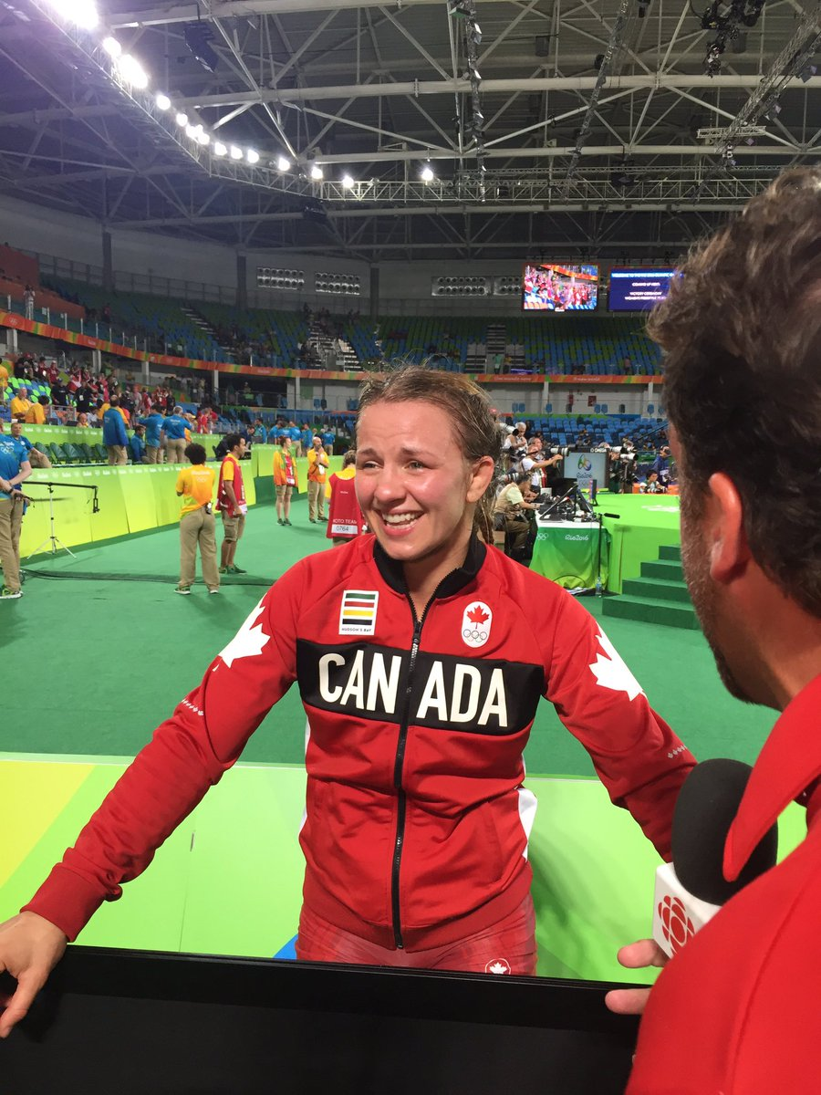 Golden. All smiles. @ericawiebe still can't believe she's an #olympics champ. @CBCOlympics https://t.co/k0pb9D9zIa
