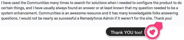 Thank you @BMC_Remedyforce community! (see below quote on Communities survey these past weeks) https://t.co/Gj1sfL1gnM