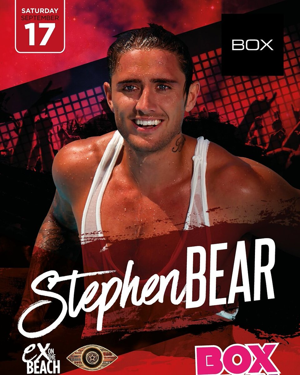 #boxrox Saturday 17th Sept @CelebrityBigBro @ExOnTheBeach_ @stephen_bear https://t.co/w5hKRCo44l