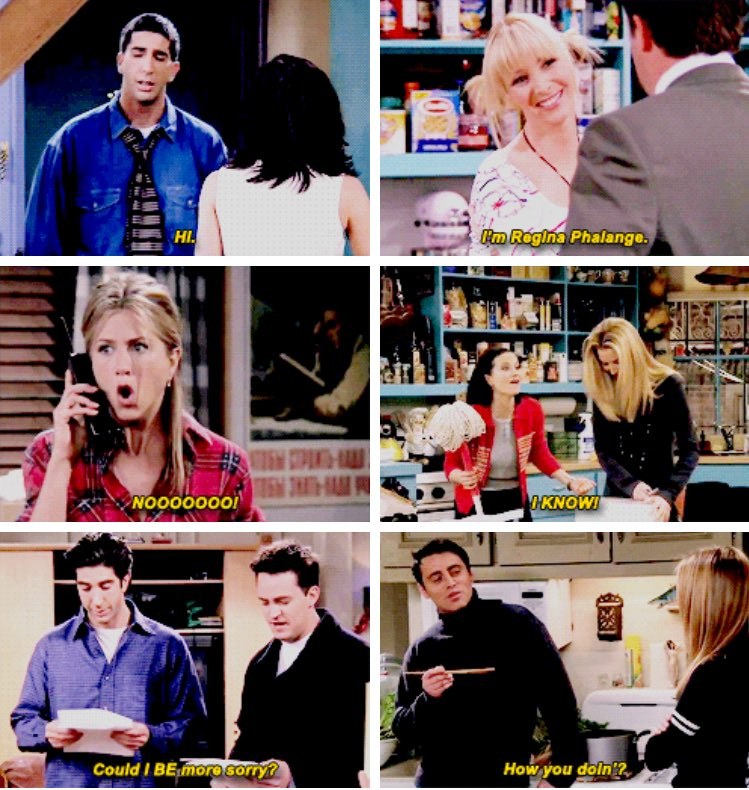 The friends + their catchphrases ������ https://t.co/OqM2xElO9R
