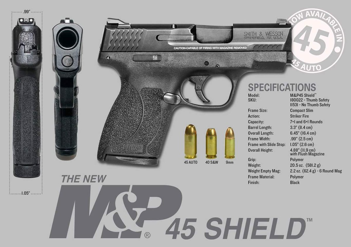 The slim, concealable M&P SHIELD® pistol you carry to shield yourself is now available in .45 AUTO.  #shieldyourself https://t.co/VIOpMCQV8a