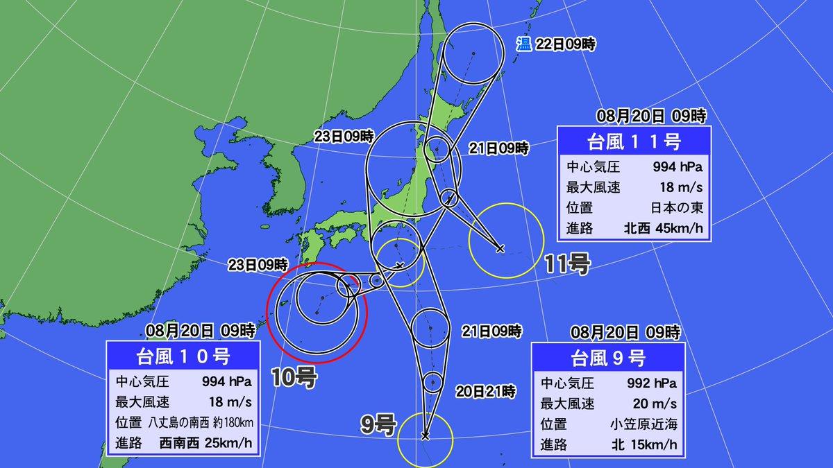 さきほど台風11号も発生。これで9号・10号・11号が、日本の周囲に存在することに。11号は明日にかけて北日本へ。 #台風 https://t.co/xDzWTJmuKS