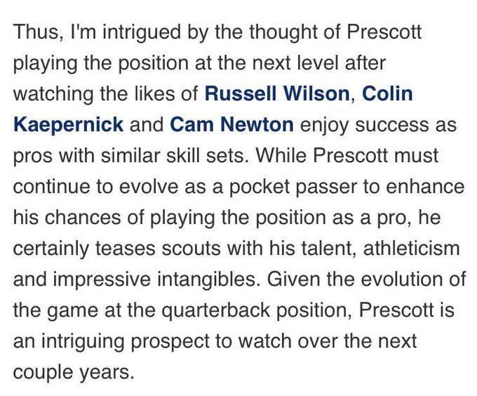 After watching Dak Prescott light it up for the @dallascowboys , I regret not trusting my gut. #LessonLearned