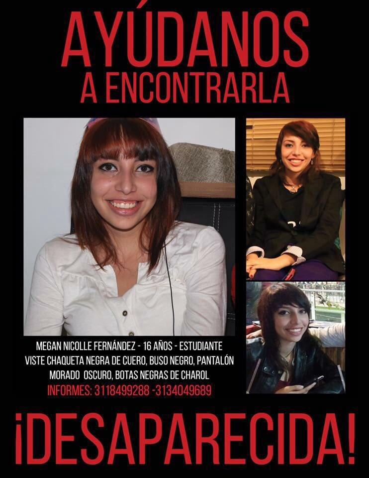 #DESAPARECIDA Megan Nicolle Fernández (16) en Bogotá. Vive en Álamos Norte #BrigadaDigital [Informacion confirmada] https://t.co/GzB2MFUxW5