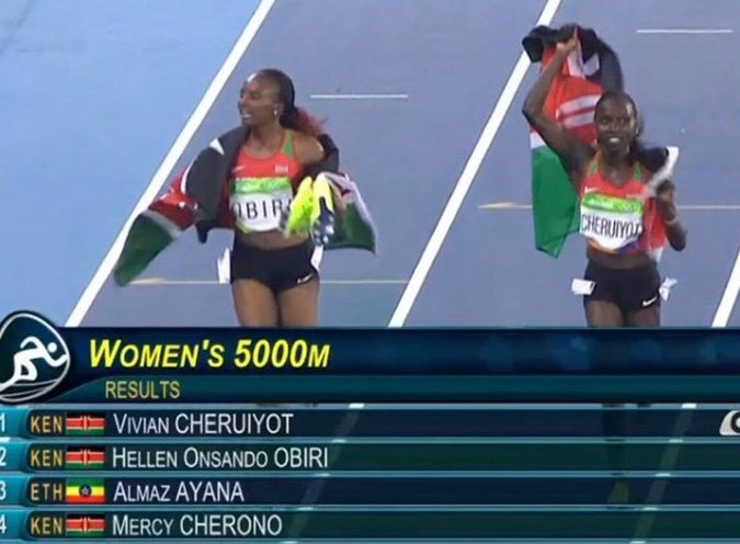 Standing Ovation to #TeamKenya 5,000m women team.  We salute Vivian Cheruiyot & Hellen Obiri for the Gold & Silver. https://t.co/bPVRoQfoId