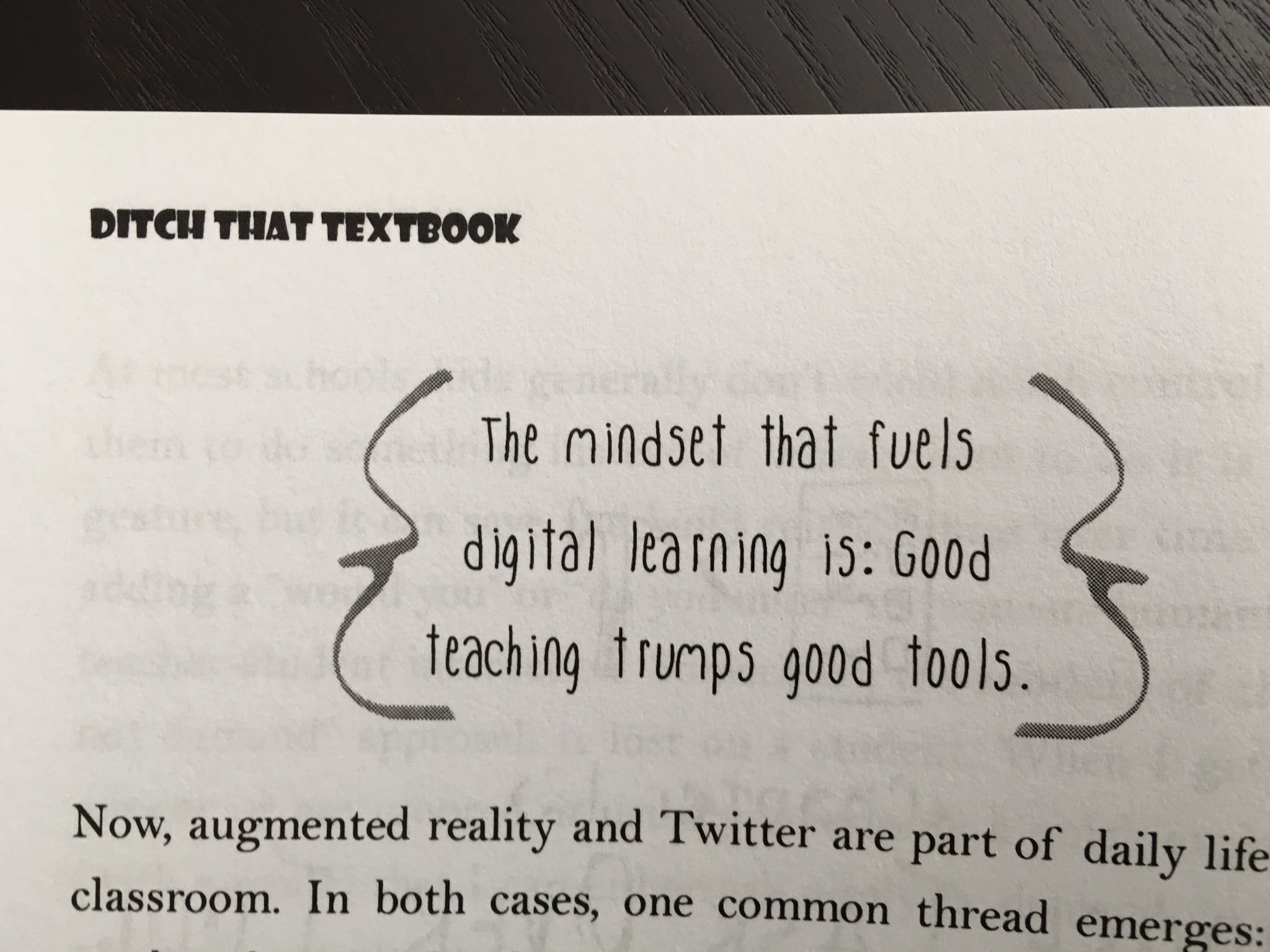 A5 When I hear 21st Century Classroom I always think of this @jmattmiller quote in #DitchBook #satchatwc #tlap https://t.co/S3MGYXpkXD