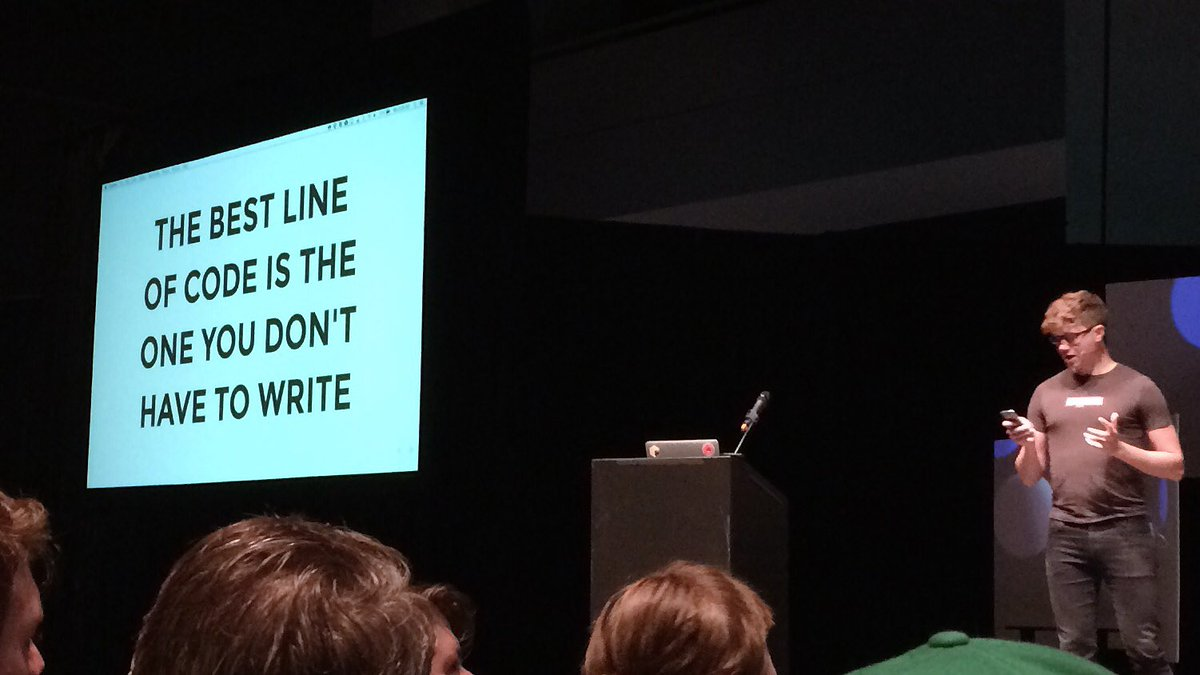 """""""The best line of code is the one you don't have to write."""" --@seldo #abstractions https://t.co/qqoysyWP4h"""