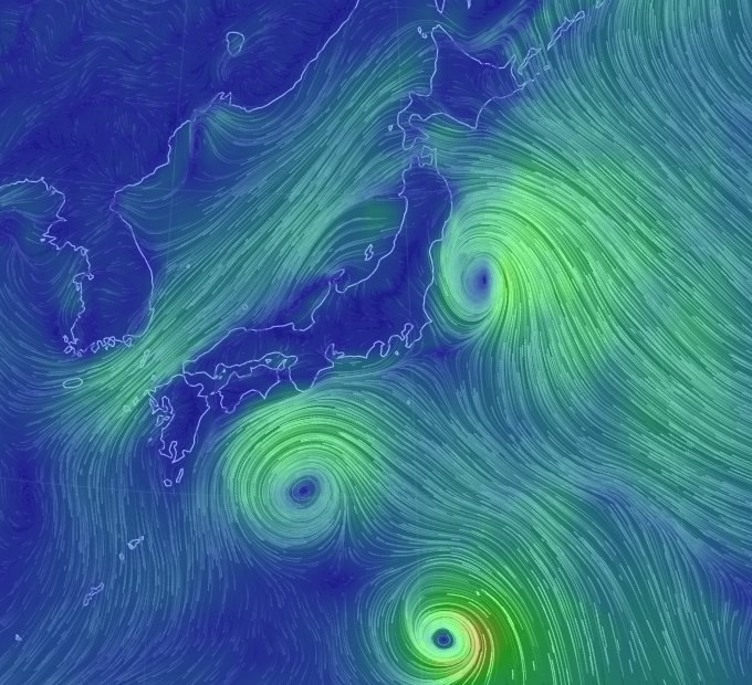 こないだ教えてもらった風をビジュアライズしてるサイト見ると、今日本は丁度隙間。 https://t.co/Vcqty8wGo4 https://t.co/krc9mRTCjX