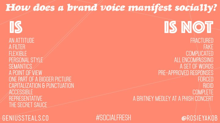 Steal This :: Here's how we think about brand voice and how it manifests socially #socialfresh https://t.co/rKjKR2DBlP
