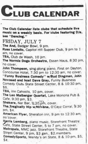 Madison, WI July 7, 1989: The Tragically Hip and Nirvana, $4 https://t.co/ZbmsAPl0wW