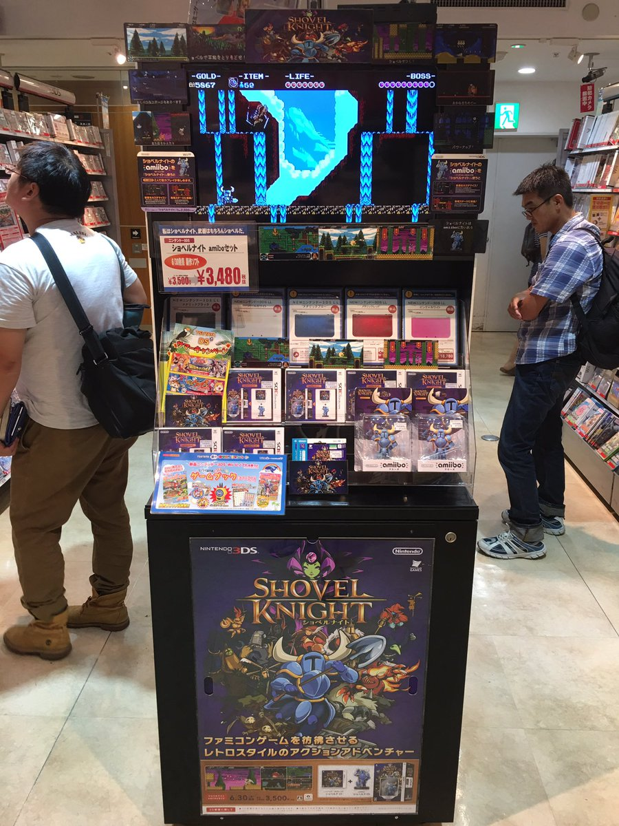 Shovel Knight still on display in Shibuya Tsutaya in Tokyo -- awesome! @YachtClubGames @YachtClubJP https://t.co/5cIP51Hug2