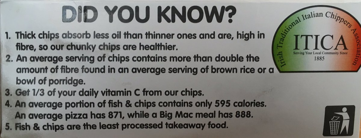 Who needs brown rice or porridge when you can have chips! (via the Irish Traditional Italian Chippers Association) https://t.co/HiskKPgJgG