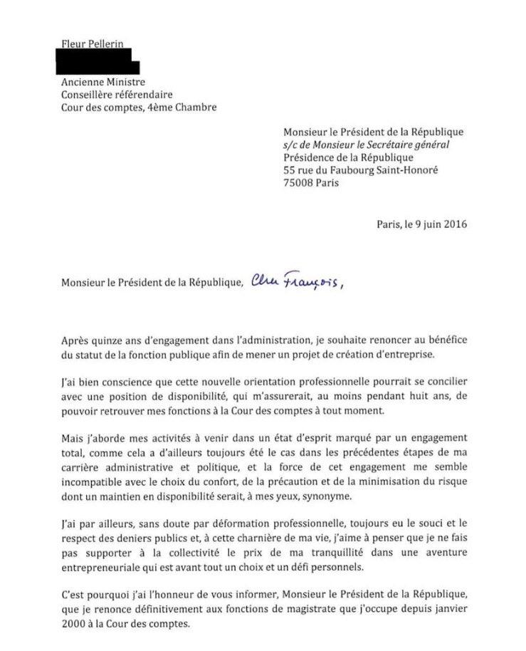 Lettre de démission de @fleurpellerin publiée sur ...
