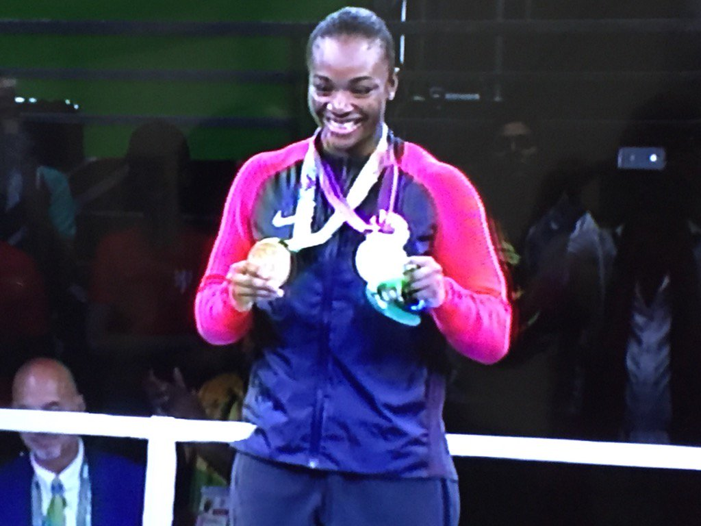 On medal stand, @Claressashields pulls 2012 gold from pocket & puts it on. Huge smile from 2 time gold medalist https://t.co/FDyP1QsZoC