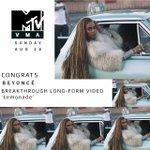 """Mais um! LEMONADE ganhou o #VMA de """"Melhor Longa"""" 🍋 #BeyMAs https://t.co/e5yfEmSsIq"""