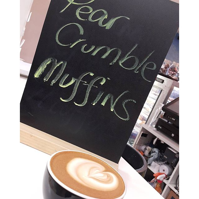 Monday 22 August, 7:25 a.m. - #monday #quickbreakfast #muffin #pear #crumble #flatwhite #cheersadam