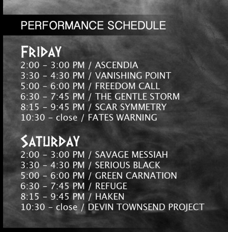 Days 3 & 4 set times. All bands get at least an hour! #ppusa https://t.co/I0qJldEQ0F