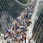 Tourists swarm glass bridge