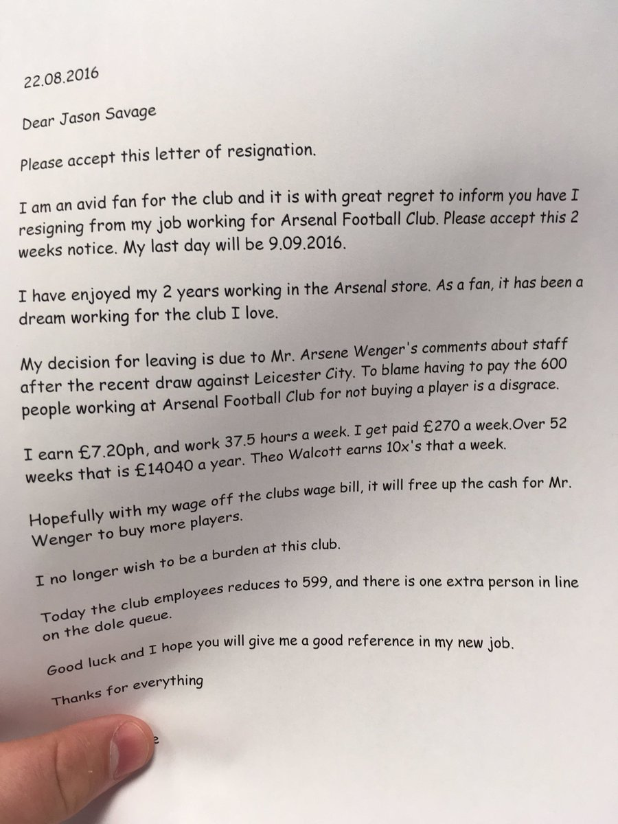 Cqcjjljwgaafhi Arsenal employeeu0027 resigns to free up