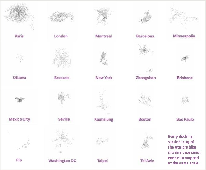 Bike sharing stations from 19 cities - same scale