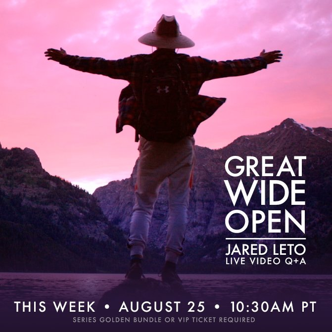 RT @VyRT: Reminder: Don't miss @JaredLeto's #GreatWideOpen Live Video Q+A THIS THURSDAY, 10:30AM PT! https://t.co/4VrH9PSNHj https://t.co/k…