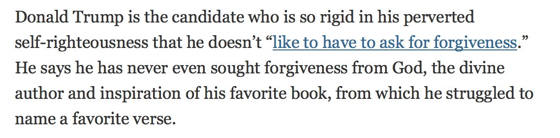 "Opening paragraph of @charlesmblow's NYTimes op-ed ""Trump's Hollow 'Regrets'"" is brilliant. https://t.co/CAVrNEs9og https://t.co/gOinYpxa16"