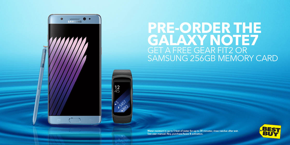 H2OMG.  Pre-ordering the water-resistant #GalaxyNote7 @BestBuy+getting a Gear Fit2 free! #ad https://t.co/DCx2tQe3FC https://t.co/pXGrVzfSMW