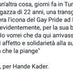#Renzi unico capo di governo #UE che ha espresso solidarietà e vicinanza a famiglia d #HandeKader e a comunità #LGBT https://t.co/5xM1nH5zYn