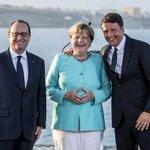 Aggiungiamo il completino alla collezione? (notare anche il solito gesto massone) #Merkel #Ventotene https://t.co/yG7diHToP5