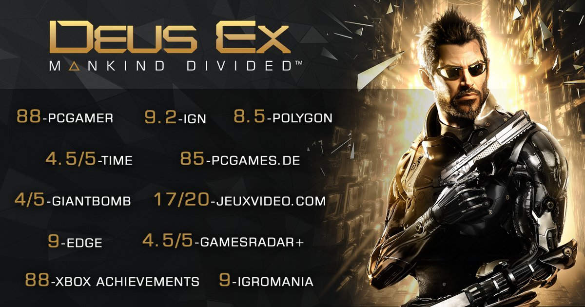 Congrats to our sister studio @EidosMontreal on the successful launch of @DeusEx :Mankind Divided. #CantKillProgress https://t.co/sJY8fEScTG