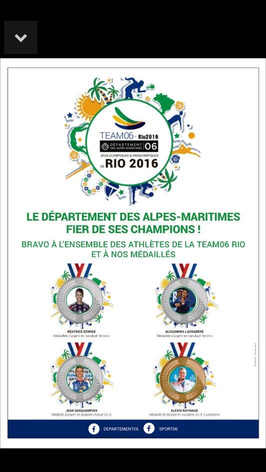 #Chiffredujour 4, c'est le nombre de médaillés originaires du 06 à #Rio2016  @Nice_Matin @Jeanquiquampoix @alex0464 https://t.co/mQg5n2EFXh
