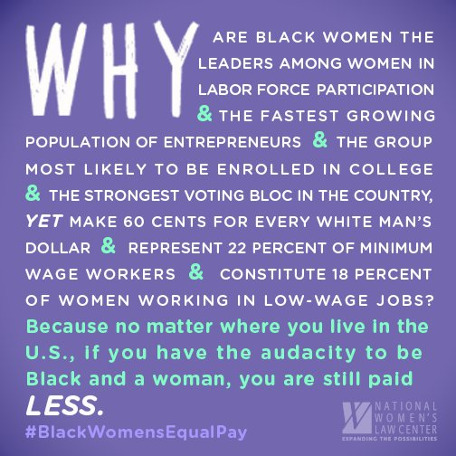 Black women and their work matter. It's time for #BlackWomensEqualPay https://t.co/5LBH2E6JbX