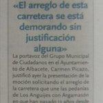 """.@carmenpicazo3 """"Una década reivindicando el acondicionamiento de la vía que une a las pedanías"""" en @TribunaAlbacete https://t.co/qdjnnl2Oyn"""