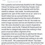 Official Word on #ChiyaanVikrams recent appearance at the #IndiaDayParade in NYC. Fans will be happy reading this👍 https://t.co/PUsFNXPPga