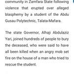 "Blasphemy & Zamfara Mob killed 8 instantly & those leaders who facilitated poverty & Boko Haram get ""Rankadede""? https://t.co/nKSEguSjDx"