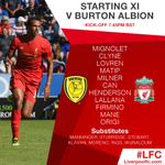 Confirmed #LFC team and subs to face @burtonalbionfc #BAFCvLFC https://t.co/6v6GuYGXAI
