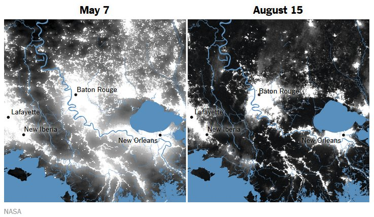 Extent of Louisiana's floods mapped using #VIIRS on @NASANPP https://t.co/wvJb5IlMWM https://t.co/qrPXatburz
