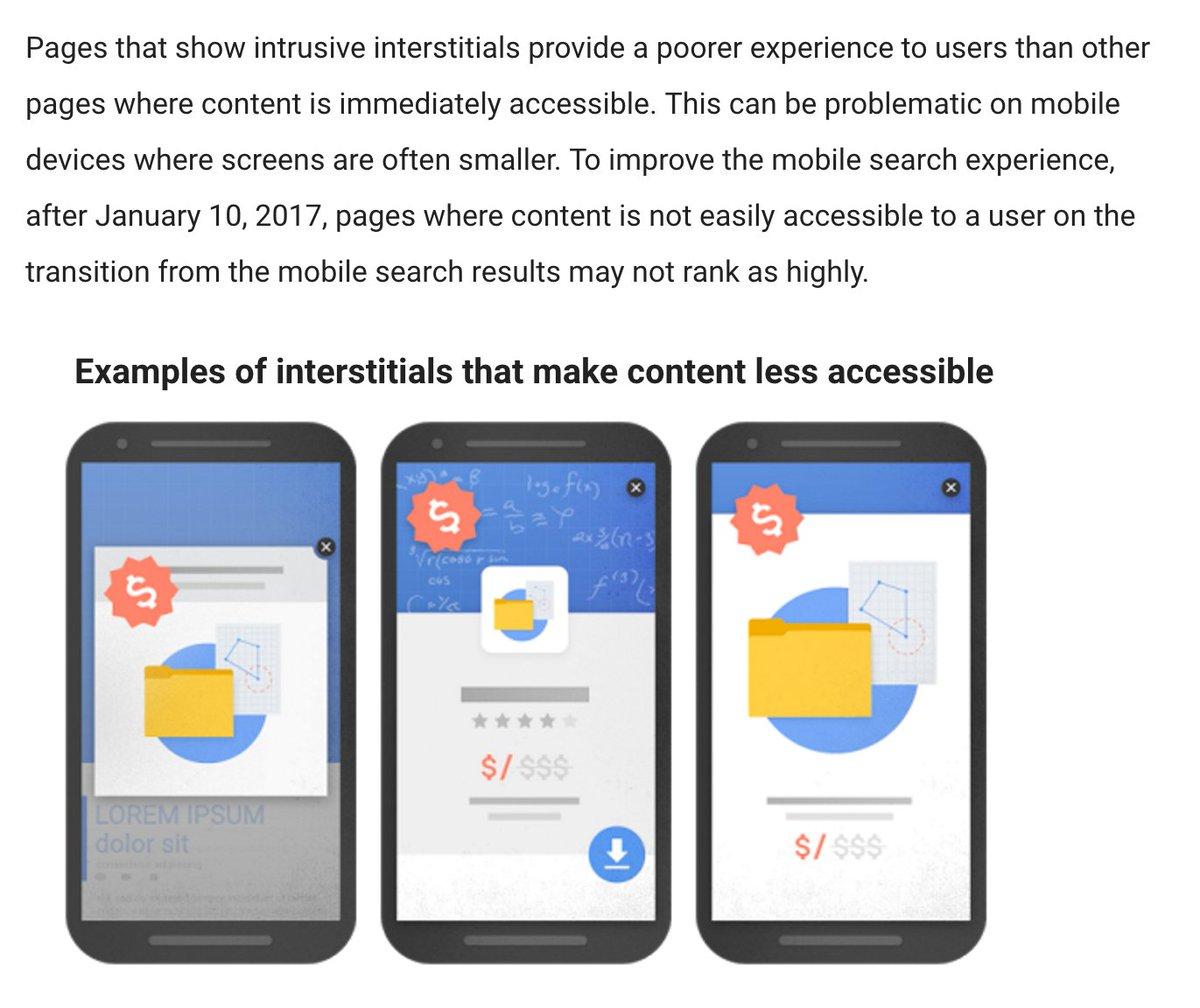 Google Search will penalize intrusive interstitials starting 01/17: https://t.co/pHaofqnZkA - good riddance. https://t.co/thJNwtqqQ2