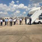 .@potus is greeted in Baton Rouge. #laflood https://t.co/33ECRBJXoU
