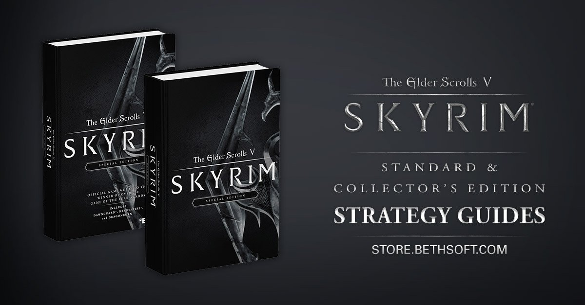 The Elder Scrolls Skyrim Standard & Collector's Edition Strategy Guides are now available! https://t.co/WFVPHAIVt5 https://t.co/Suum71n352