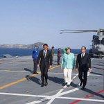 Ieri #Renzi, #Merkel e #Hollande hanno raggiunto la portaerei #Garibaldi a bordo di un #AW101 dell@ItalianNavy https://t.co/CGTCRGK3M7