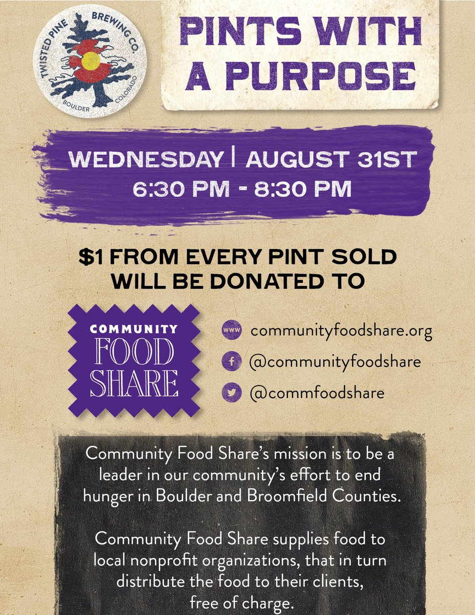 We're partnering up with @NetApp to support @CommFoodShare on August 31st. Buy a pint to help end hunger in Boulder! https://t.co/6FlycDpZvn