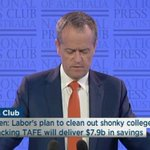 "Labors plan to clean out shonky colleges by backing #TAFE will deliver $7.9Bn in savings""-Bill Shorten,#NPC #auspol https://t.co/EHIChTjuDm"
