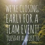 Next Tuesday Aug 30th, Were celebrating our team & will be closing at 6pm #vancouver #explorebc #vancity #northvan https://t.co/f05NMwrZuV
