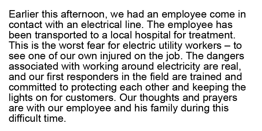 Our thoughts and prayers are with our employee and his family during this difficult time. https://t.co/fJoCg1LjtT