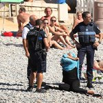 This woman was at a beach in France when the police came & forced her to remove her burkini. No difference than ISIS https://t.co/LuPHfbYSZd