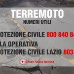 #Terremoto, attivi i numeri del contact center della Protezione Civile e Sala Operativa Protezione Civile Lazio. https://t.co/VFheazuhfT