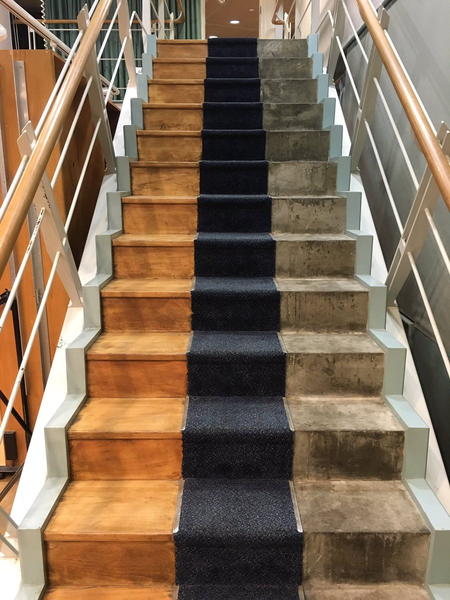Radio drama staircase, BBC Maida Vale. Wood, carpet, concrete: three acoustics. Been running up these half my life https://t.co/LCQy6shgRK